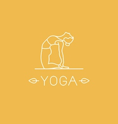 Yoga logo in trendy linear style vector