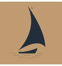 sailboat at sea seascape icon vector image
