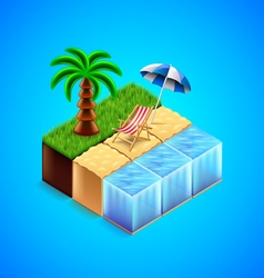 Tropical resort concept beach with deck chair and vector