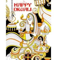 Burning diya on happy Diwali Holiday doodle vector image