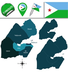 Djibouti map with named divisions vector