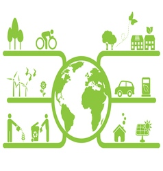 Green planet sustainable living vector