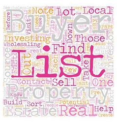 Build your buyers list text background wordcloud vector