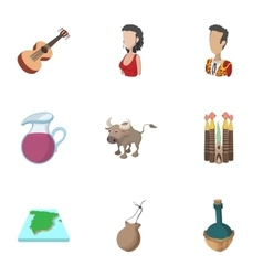 Tourism in spain icons set cartoon style vector