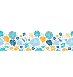 Blue and yellow flowersilhouettes horizontal vector image