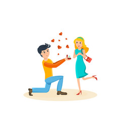 man makes proposal to beloved girl delighted vector image
