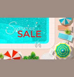 Pool and lounges with summer sale announcement vector