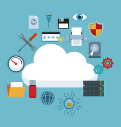 Color background with cloud storage and technology vector