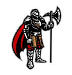Knight stand holding axe vector