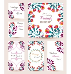 Elegant Cards with Multi Colored Flowers and vector image