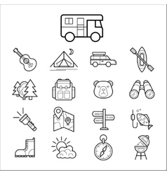 Big set linear icon camping and tourism vector