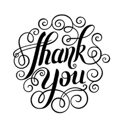 Thank you handwritten lettering inscription vector