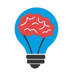 Blue light bulb with red brain graphic vector
