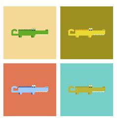 Assembly flat icons cartoon crocodile vector