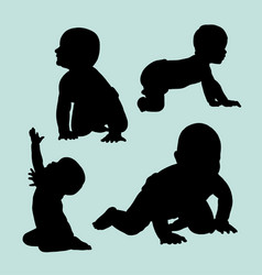 baby crawling silhouette vector image