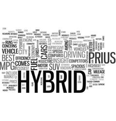 Best hybrid vehicles text word cloud concept vector