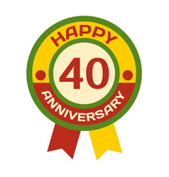 Birthday fortieth badge banner design vector