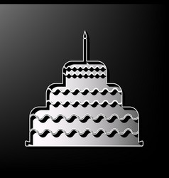 Cake with candle sign gray 3d printed vector