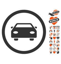 Car icon with valentine bonus vector