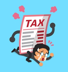 Cartoon a businessman with big tax letter vector image vector image
