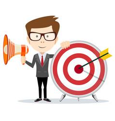 Cartoon businessman holding target and megaphone vector