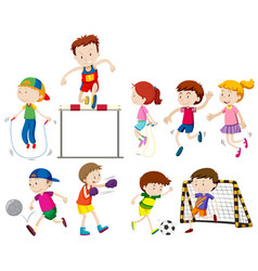 Children doing different kinds of sports vector