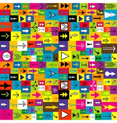 Colorful background with different kinds of arrows vector image vector image