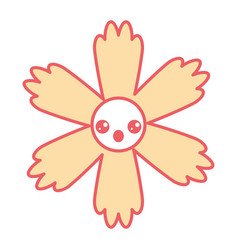 Cute cartoon happy flower kawaii adorable vector