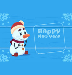 cute snowman on happy new year greeting card vector image vector image