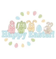 Easter greeting card with easter eggs and bunnies vector image vector image