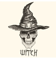 Head of witch with hat vector