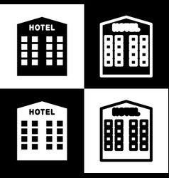 Hotel sign black and white icons and line vector