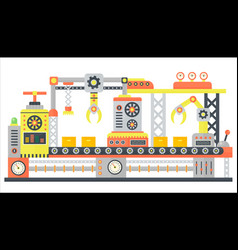 Industrial abstract machine line in flat style vector