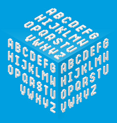 Isometric style fonts set vector