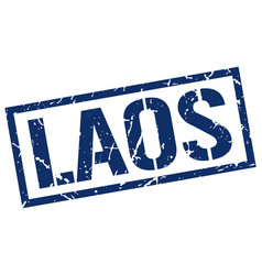 Laos blue square stamp vector