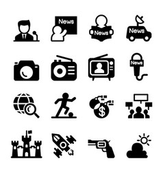 mass media news icon set vector image