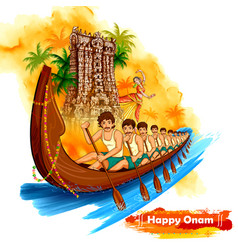 Meenakshi temple backdrop snakeboat race in onam vector
