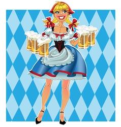 Octoberfest girl with beer vector