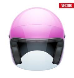 Pink Female Motorcycle Helmet with glass visor vector image