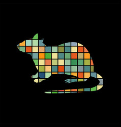 rat mouse rodent color silhouette animal vector image vector image