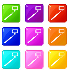 Selfie stick and smartphone icons 9 set vector