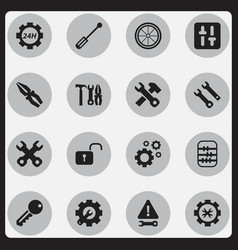 set of 16 editable service icons includes symbols vector image