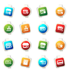 shop icons set vector image