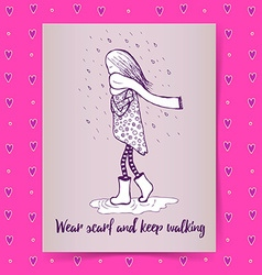 Sketch girl walking in rain vector image