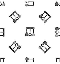 spatula ladle and whisk kitchen tools pattern vector image
