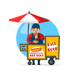 Street fast food vendor booth cart vector