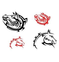Tribal mascots with red and black horses vector image vector image