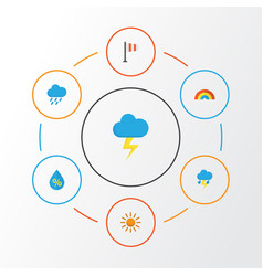 Weather flat icons set collection of banner bow vector