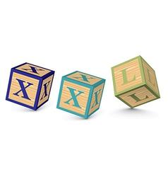 Word xxl written with alphabet blocks vector