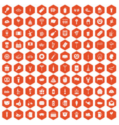 100 beer party icons hexagon orange vector